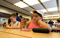 Apple flagship store, 5th Ave.  NYC. Some of the youngest customers