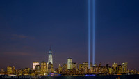 Tribute in Light at Ground Zero viewed from Empty Sky 9/11 Memorial, Liberty State Park NJ