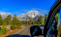 Driving towards Jackson Lake, Grand Teton National Park