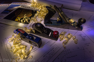 Light painting. Hand planes and wood shavings.