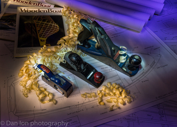 Light painting 2. Hand planes and wood shavings.